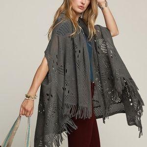 Dark grey crochet knit kimono with fringe accent